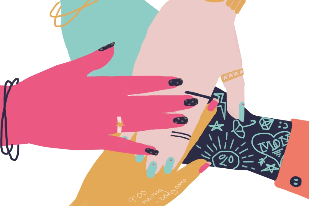 An illustration of a circle of 5 differently coloured hands stacked upon each other, to represent a community.