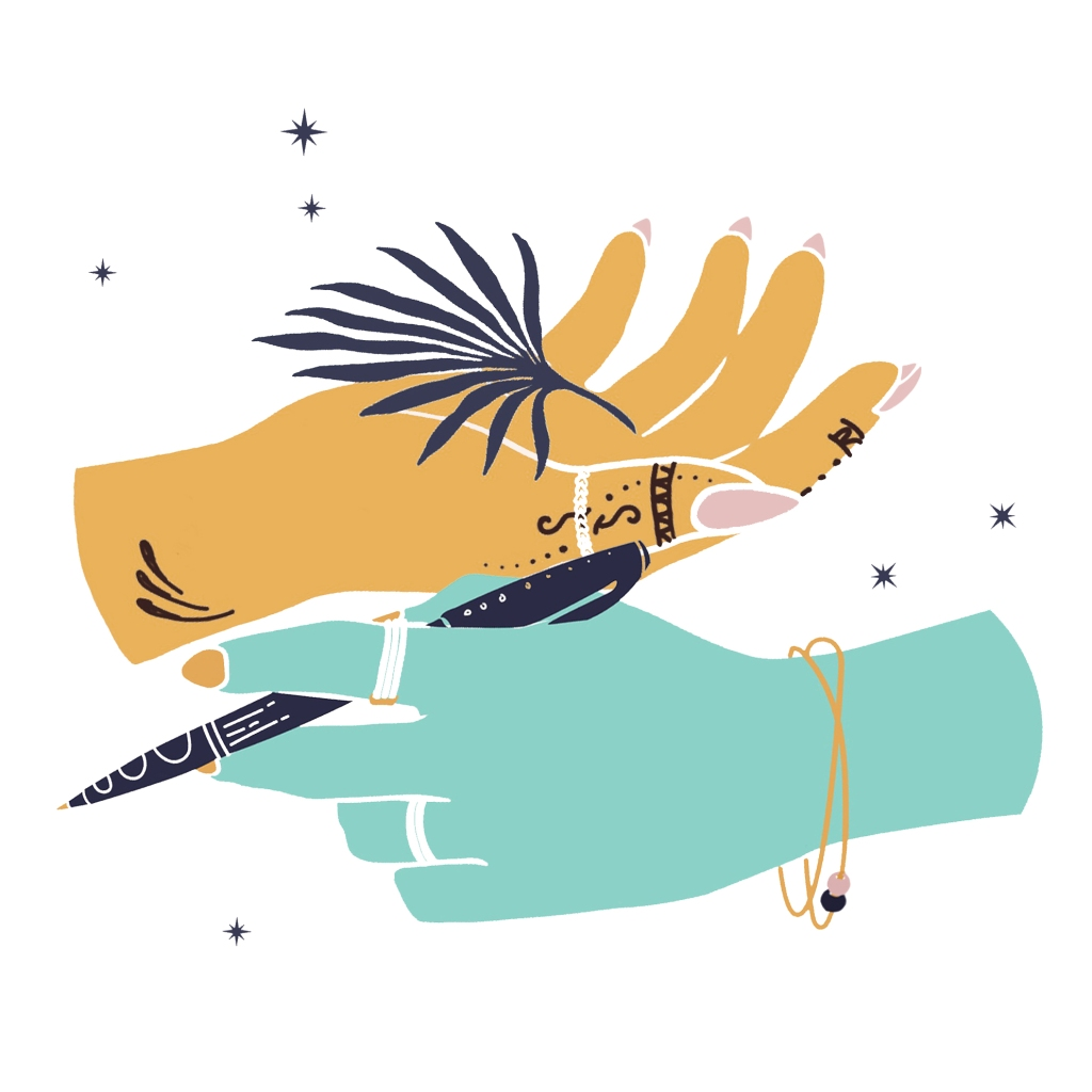 An illustration of two hands. The yellow hand holds a blue leaf. The light blue hand holds a pen. Both hands are surrounded by stars.