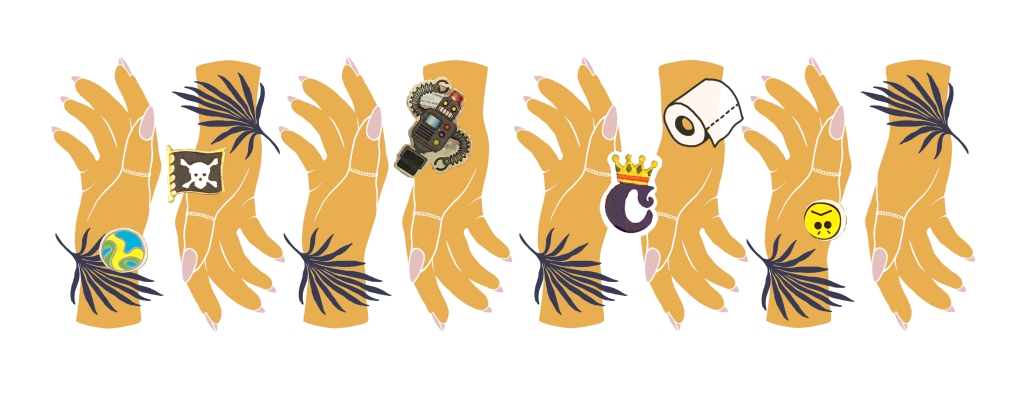 "An illustration of 8 tessellating yellow hands in a row. The hands are covered in stickers and small illustrations of blue palm leaves, a pirate flag, toilet roll and the letter ""C"" indicting the COVID-19 situation."