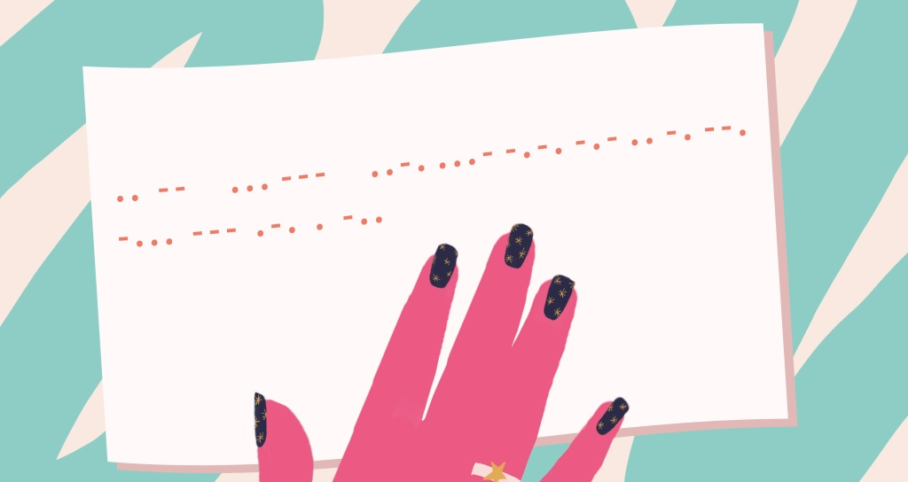 An illustration of morse code on a piece of white paper, with a pink hand resting on the page.