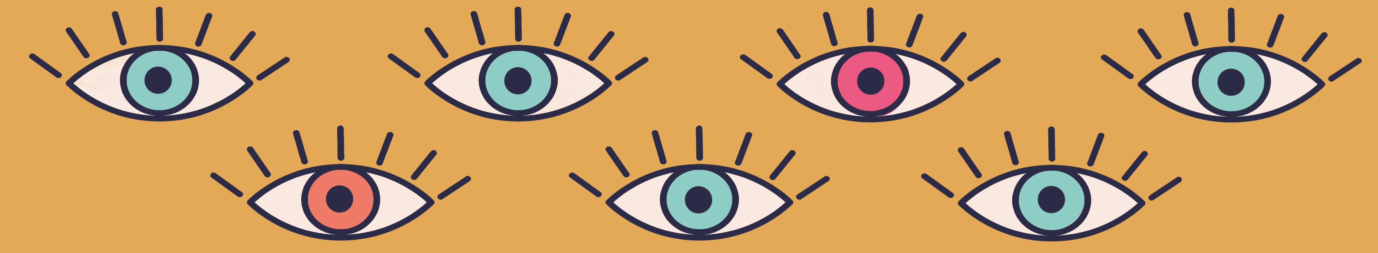 An illustration of 7 eyes on a yellow background.