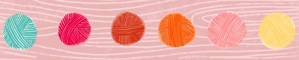 An illustration of 6 balls of wool on a pink background.