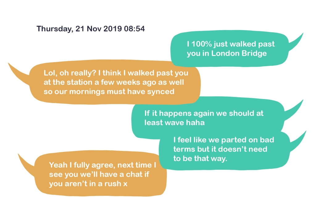 """An illustration of a text conversation in speech bubbles from Thursday, 21 Nov 2019 08:54. The text reads """"I 100% just walked past you in London Bridge"""" """"Lol, oh really? I think I walked past you at the station a few weeks ago as well so our mornings must have synced"""" """"If it happens again we should at least wave haha. I feel like we parted on bad terms but it doesn't need to be that way."""" """"Yeah I fully agree, next time I see you we'll have a chat if you aren't in a rush x"""""""