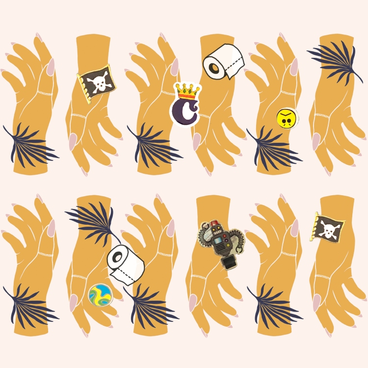 """An illustration of 12 tessellating yellow hands in 2 rows. The hands are covered in stickers and small illustrations of toilet roll, leaves, a pirate flag and the letter """"C"""" to represent the COVID-19 situation."""