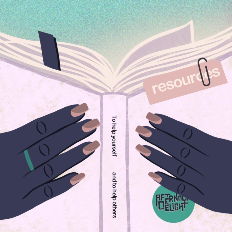 """An illustration of two blue hands holding a purple book. A note on the book says """"resources."""" The spine of the book reads """"To help yourself and to help others"""""""