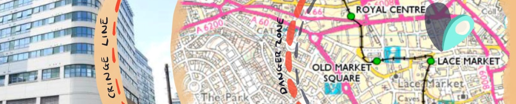 An illustration of a map of Nottingham, marking the boundary of the 'danger zone' and 'cringe line' with a blue marker at a location near Lace Market.