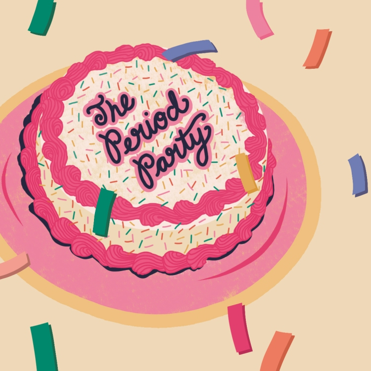 """An illustration of a cake with yellow frosting, sprinkles and pink piping, on a pink plate. The icing text reads """"The Period Party"""""""